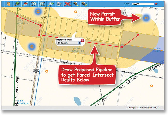 Pipeline Parcel Intersect with Well Alert Buffer